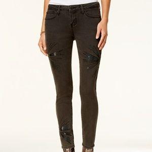 Rampage Juniors' Black Sequined Skinny Jeans